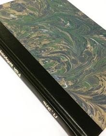 Ремонт книжного блока, ручная по-тетрадная перепрошивка блока, составная обложка (кожа и мраморная бумага ручной работы), тиснение на корешке под оригинал.